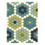 Linon Le Soliel Tile Blues Geometric Indoor Outdoor Rug