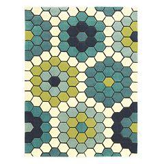 Linon Le Soliel Tile Blues Geometric Indoor Outdoor Rug