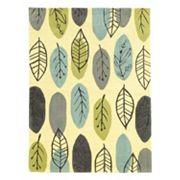 Linon Le Soliel Tropical Blues Leaf Indoor Outdoor Rug