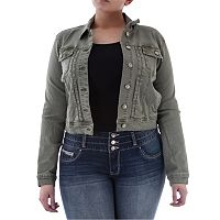 Juniors' Plus Size Amethyst Green Cropped Jean Jacket