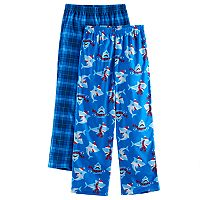 Boys 4-16 Up-Late Holiday Plaid Shark 2-Pack Lounge Pants