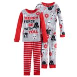 Boys 6-12 Star Wars Holiday 4-Piece Pajama Set