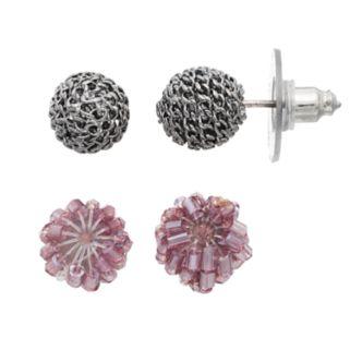 Simply Vera Vera Wang Nickel Free Purple Beaded & Chain Ball Stud Earring Set