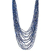 Blue Seed Bead Layered Necklace
