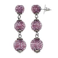 Simply Vera Vera Wang Nickel Free Purple Beaded Triple Drop Earrings