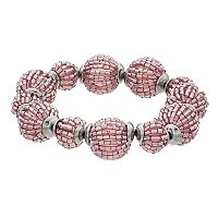 Simply Vera Vera Wang Purple Tube Bead Ball Stretch Bracelet
