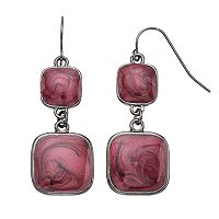 Red Swirl Square Nickel Free Double Drop Earrings