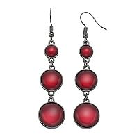 Red Round Cabochon Nickel Free Linear Drop Earrings