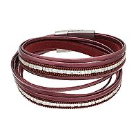 Chain Inlay Faux Leather Wrap Bracelet