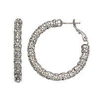 Simply Vera Vera Wang Nickel Free Faceted Metallic Stone Hoop Earrings