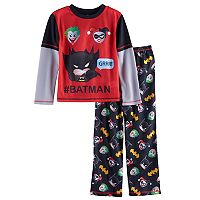 Boys 4-16 DC Comics Batman Emoji 2-Piece Pajama Set