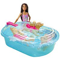 Barbie® Brunette Hair Barbie Swimming Pup Pool Set