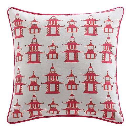 Clairebella pagoda chinoiserie outdoor throw pillow for Clairebella