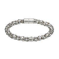 Simply Vera Vera Wang Metallic Faceted Stone Popcorn Mesh Bracelet