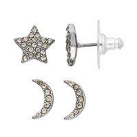 Simply Vera Vera Wang Nickel Free Pave Celestial Stud Earring Set