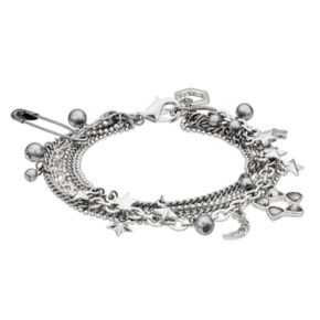 Simply Vera Vera Wang Safety Pin, Crescent & Star Charm Multi Strand Bracelet