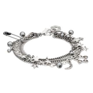 Simply Vera Vera Wang Safety Pin, Crescent & Star Charm Multi Strand Bracelet