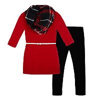 Girls 7-16 IZ Amy Byer Infinity Scarf, Sparkly Belted Sweater Dress & Leggings Set