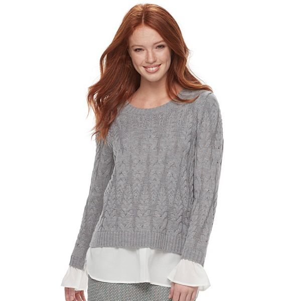 Women's ELLE™ Mock Layer Cable Knit Sweater