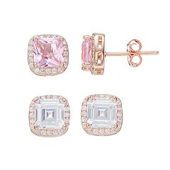 Rose Gold Tone Lab-Created Sapphire & Cubic Zirconia Square Stud Earring Set