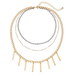Tri Tone Stick Fringe Layered Choker Necklace