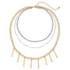 Tri Tone Stick Fringe Layered Choker Necklace