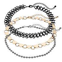 Tattoo, Ball Chain & Heart Link Choker Necklace Set