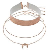 Faux-Leather Choker & Crescent Necklace Set