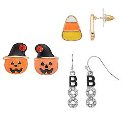 'Boo,' Pumpkin & Candy Corn Earring Set