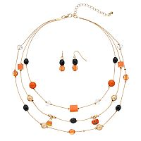 Pumpkin & Candy Corn Charm Layered Necklace & Drop Earring Set