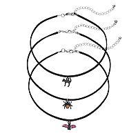 Black Cat, Spider & Bat Choker Necklace Set