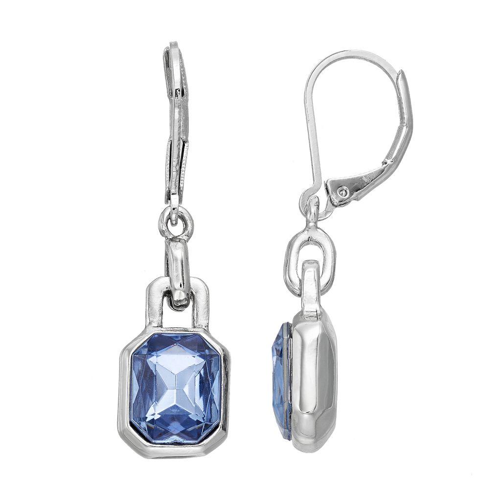 Simply Vera Vera Wang Blue Rectangular Stone Nickel Free Drop Earrings