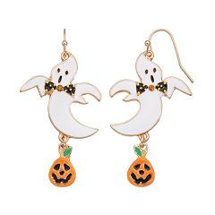 Ghost & Jack-o'-Lantern Drop Earrings