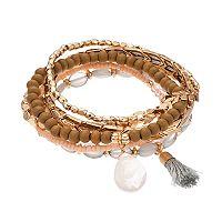 Tassel Charm & Wooden Bead Stretch Bracelet Set
