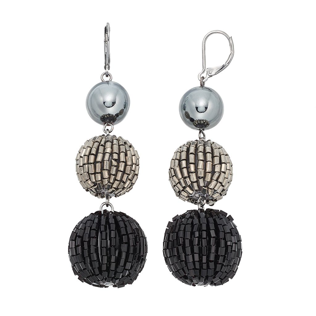 Simply Vera Vera Wang Tube Bead Nickel Free Triple Drop Earrings