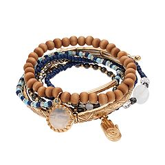 Hamsa Charm Beaded Stretch Bracelet Set