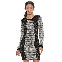 Juniors' Trixxi Marled Lace Bodycon Sweater Dress