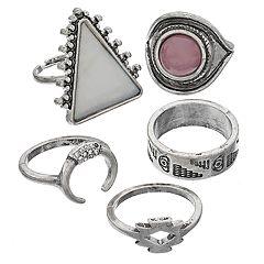 Geometric & Tribal Ring Set