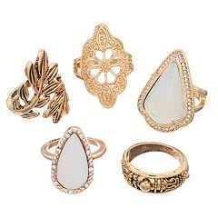Leaf & Filigree Ring Set