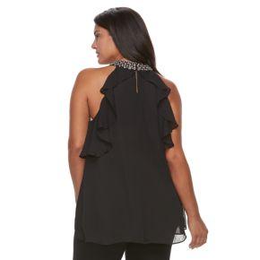 Plus Size Jennifer Lopez Embellished Halter Shell Top