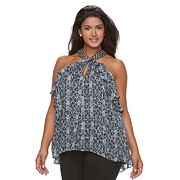 Plus Size Jennifer Lopez Embellished Halter Shell Top