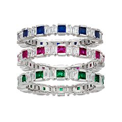 Sterling Silver Gemstone Stack Ring Set
