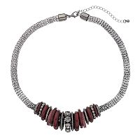 Red Graduated Rondelle Mesh Necklace
