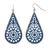 Blue Filigree Nickel Free Teardrop Earrings
