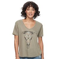 Juniors' Fifth Sun Cow Skull Graphic Tee