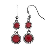 Red Round Nickel Free Double Drop Earrings
