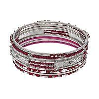 Maroon Seed Bead Bangle Bracelet Set