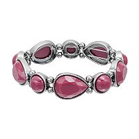 Magenta Faceted Teardrop & Round Cabochon Stretch Bracelet