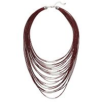 Maroon Cord Curved Tube Layered Necklace