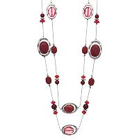 Long Maroon Beaded Double Strand Station Necklace